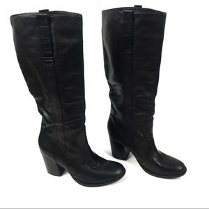 Steve Madden Intelect Leather Tall Boots Black 7.5